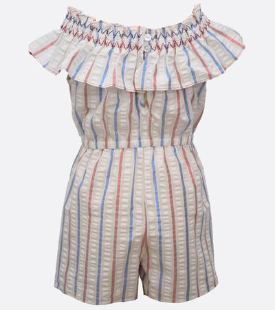 Girls patriotic red white and blue striped romper