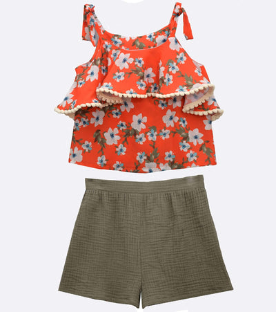girls floral short set with ruffle detail