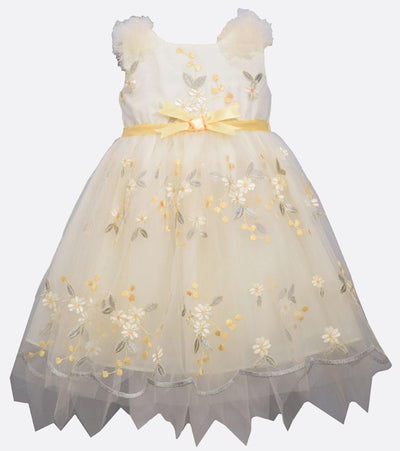 baby girl yellow floral party dress