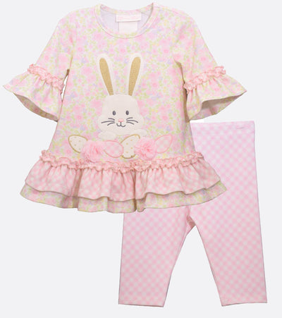 Girls Easter Outfit with Easter Bunny Applique