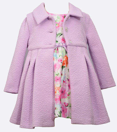 Girls Easter Dress with coordinating textured knit coat