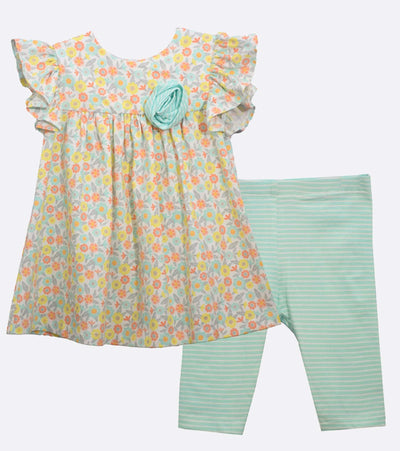 baby girl floral legging set with rosette