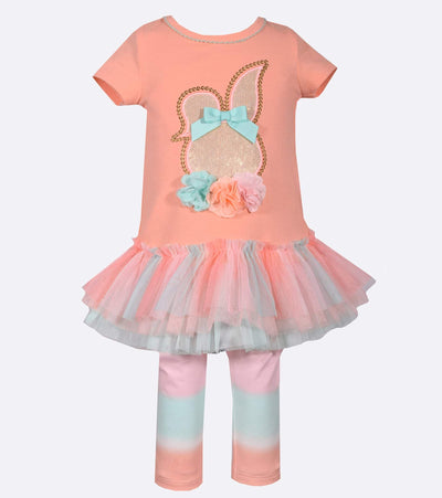 Sparkle easter bunny outfit with tutu skirt and tie dye leggings