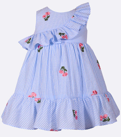 Embroidered floral seersucker easter dress with ruffle shoulder