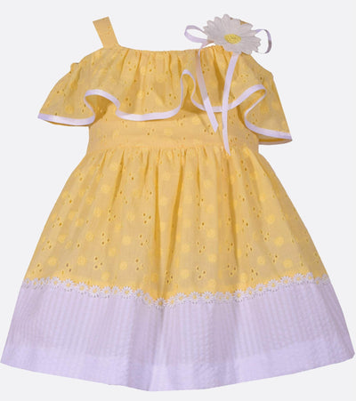 Yellow seerscuker and white eyelet cold shoulder girls easter dress