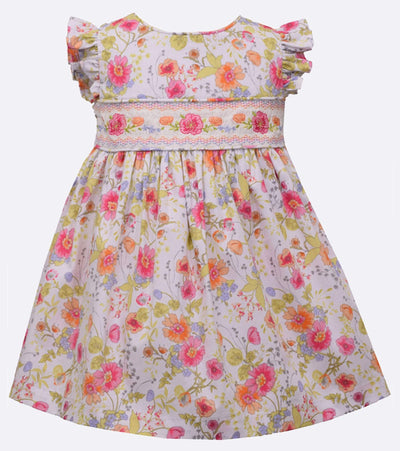 Floral smocked Easter dress with flutter sleeve