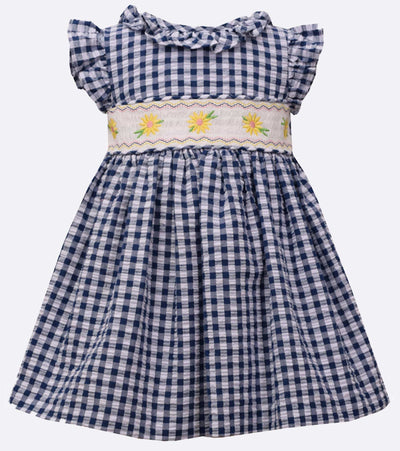 Checkered smocked dress with floral insert and flutter sleeves