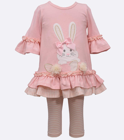 Easter bunny legging set with ruffles and foil dot pant