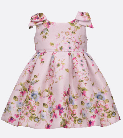 Floral foil printed dress with bow shoulders Dress for Matching Big Girl Little Girl Photos