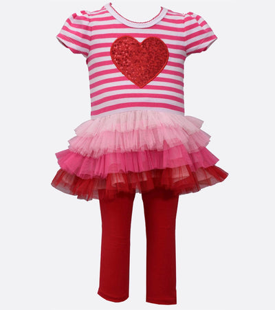 valentines day outfit with sequin heart and ombre tutu