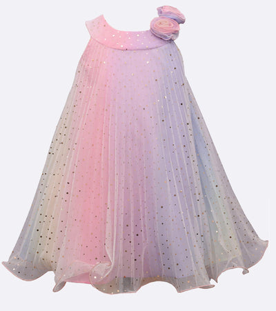 girls crystal pleated glitter rainbow party dress with flower detail