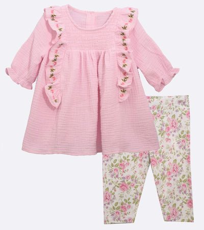 Matching Outfits for Sisters Embroidered Gauze Ruffle with Floral legging