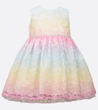 baby girl rainbow lace party dress