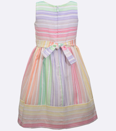 multi color stripe rainbow dress for sisters