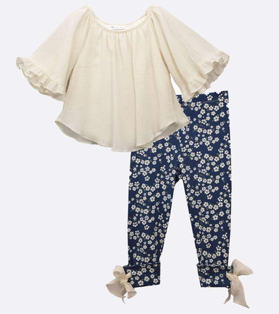 Girls Legging Set with Peasant Top and Floral Pant