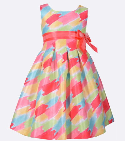 Matching Sister Outfit: Multi color brush stroke print party dress