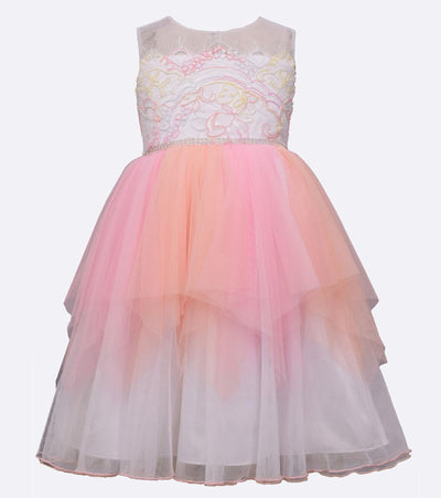 Girls party ballerina dress with neon hanky hem