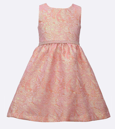 girls  metallic jaquard dress with jewel waistline