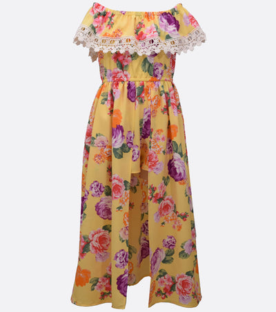 Floral maxi romper with venise trim