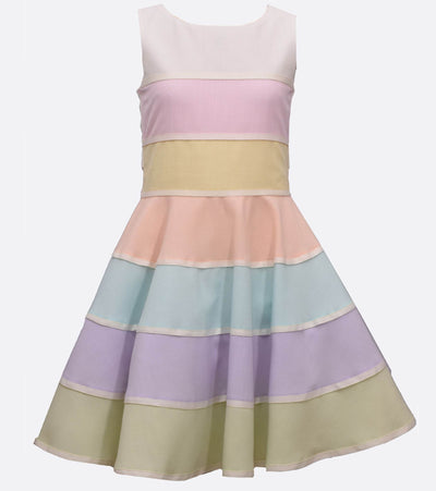 Pastel color block stripe party dress