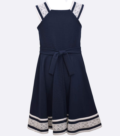 big girls nautical dress with lace