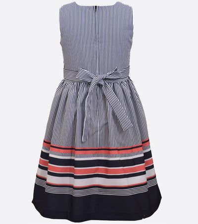 big girl nautical dress with bow and ribbon detail