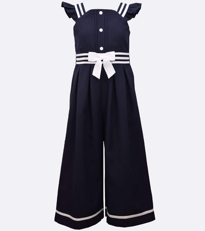 tween nautical jumpsuit with bow detail