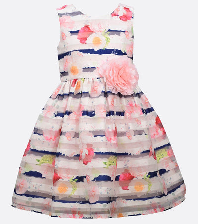 Girls Party Dress Floral Shadow Stripe