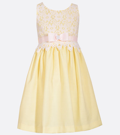Linen-look yellow easter dress with lace bodice