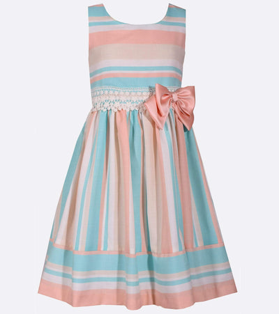 Linen-look striped girls easter dress with lace accents