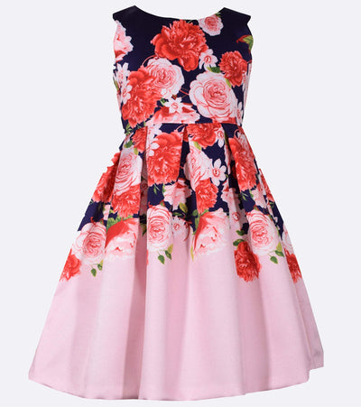 Floral navy and pink party dress for girls
