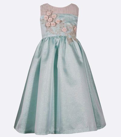 Illusion neck floral tween ball gown