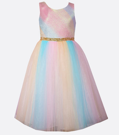 Rainbow tutu tea length easter dress for girls