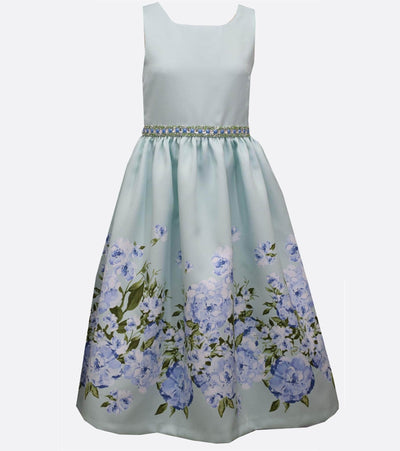 Special occasion ballgown with floral border print and sparkle waist