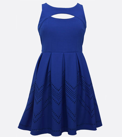 Skater dress with peekaboo neckline and chevron hem