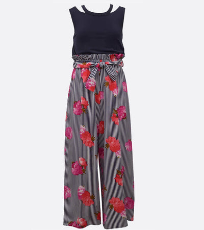 Floral maxi jumpsuit for tweens with strappy detail
