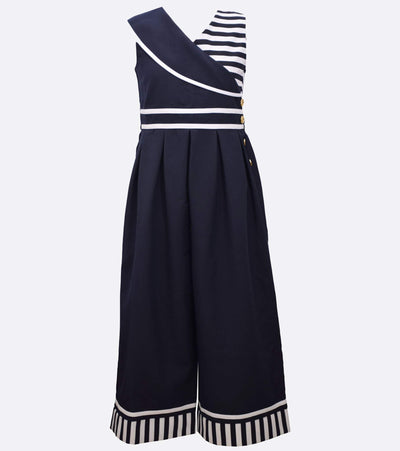 tween nautical stripe jumpsuit with button detail