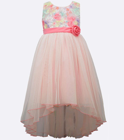 Rainbow lace high low plus size dress for girls