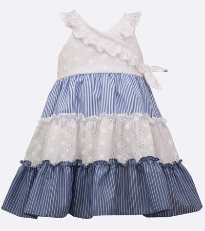 little girls sundress with chambray stripe