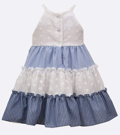 little girls sundress with chambray stripe and eyelet