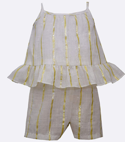 little girl gold romper with stripe and ruffle detail