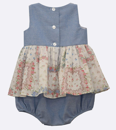 baby girl chambray coverall with headband