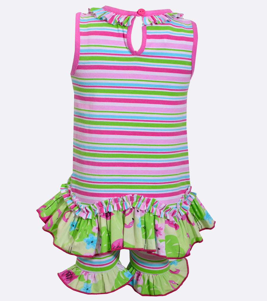 flamingo, short set, sets, little girl shorts, cute, summer outfit, spring,