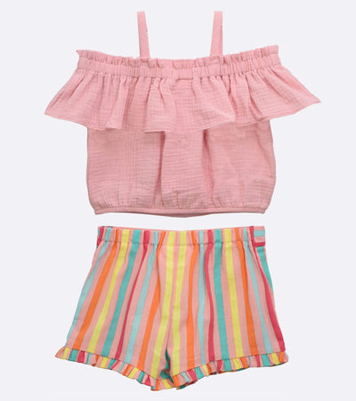 little girls pink stripe short set