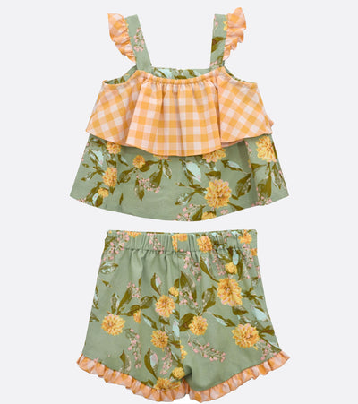little girls floral short set