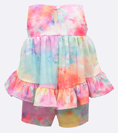 tie dye short set for little girls