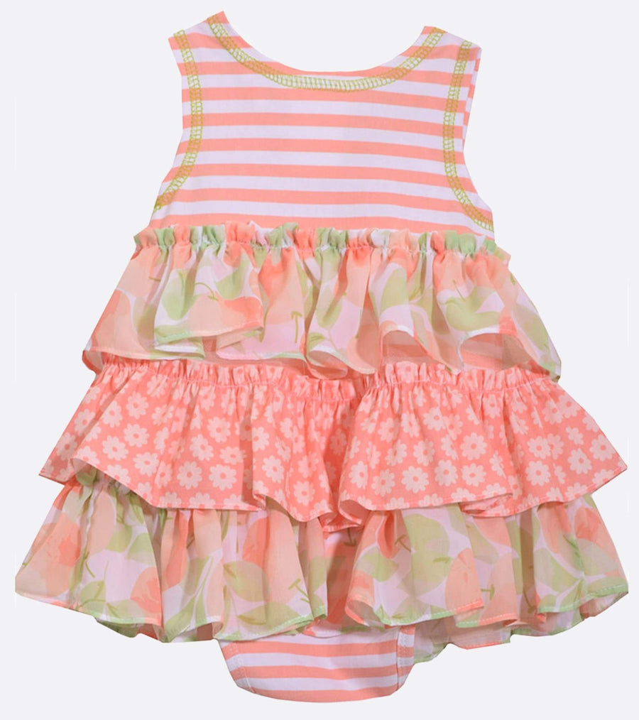 peach, coverall, onesie, ruffled. ruffles, cute summer, outfit, newborn, infant