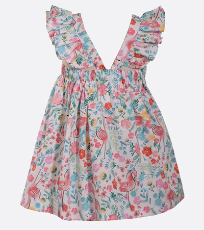 Lily Flamingo Printed Dress