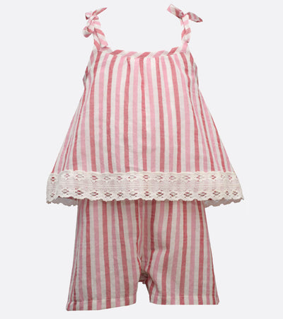 little girls summer romper with stripes