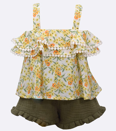 little girl short set with floral and ruffle